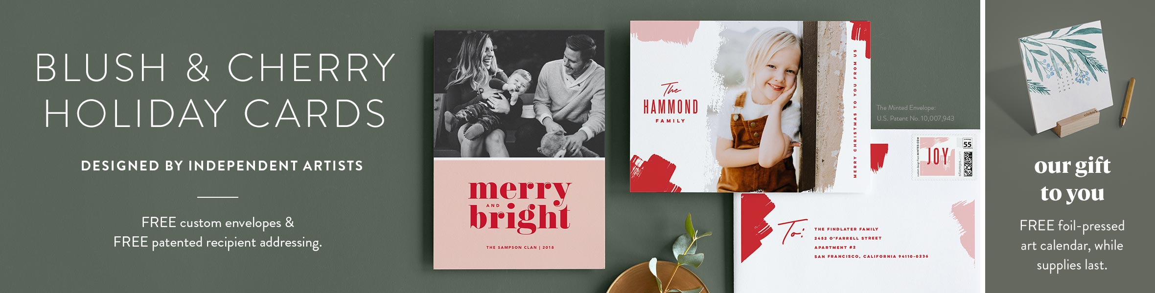 Red and Pink Holiday Cards