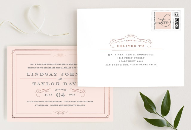 pink wedding invitation with envelope
