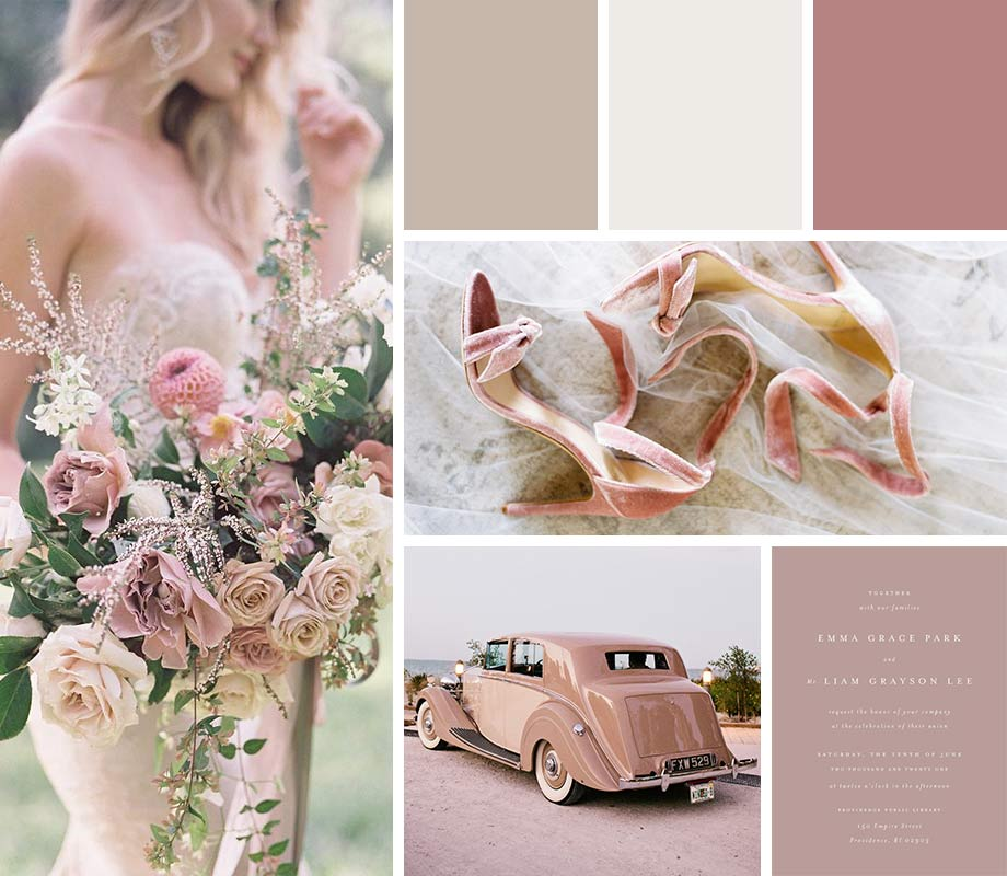 Dusty Rose + Taupe + Ivory wedding palette inspiration
