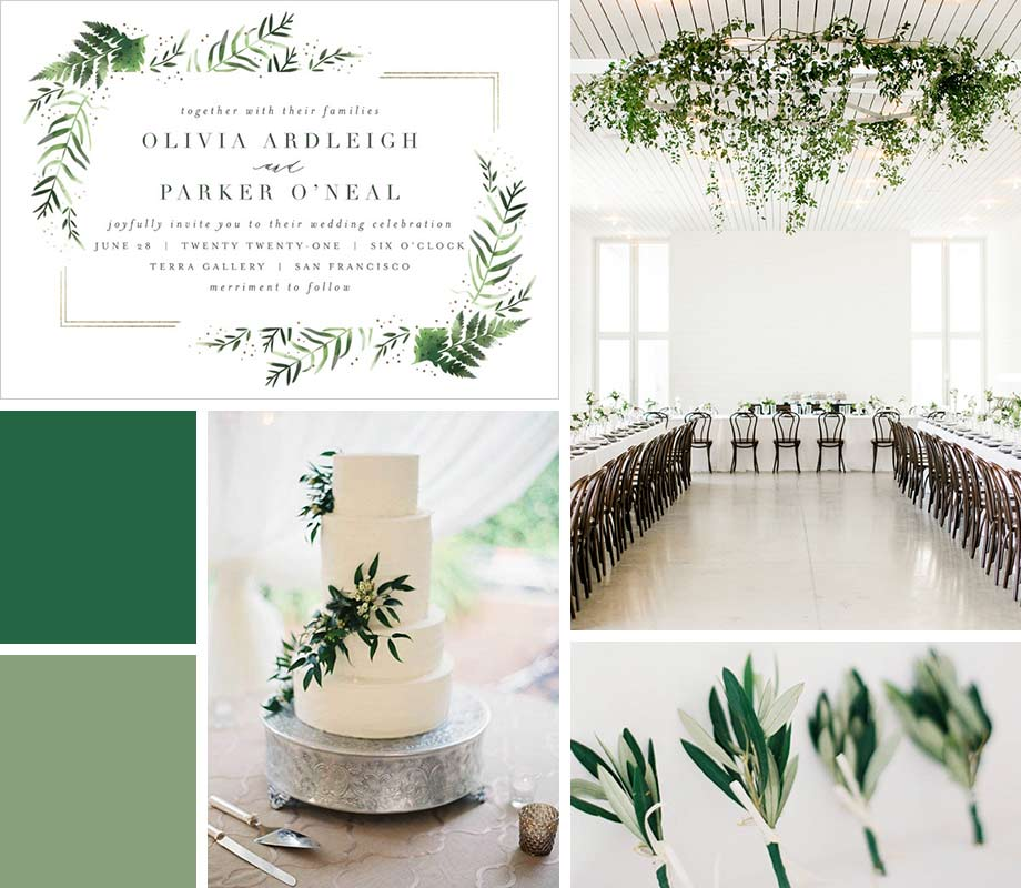 Greenery wedding palette inspiration