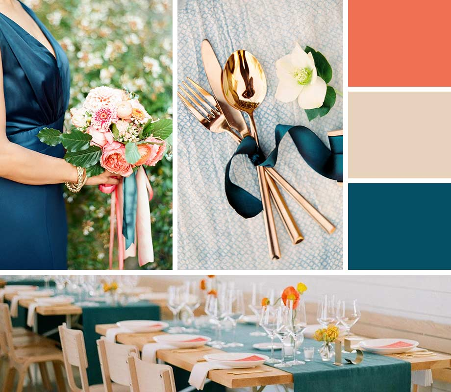 Peacock Blue + Papaya + Sand wedding palette inspiration