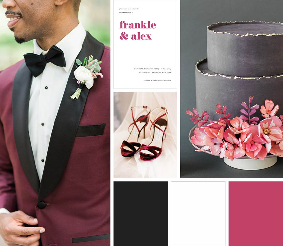 Black + White + Pop of Color wedding palette inspiration
