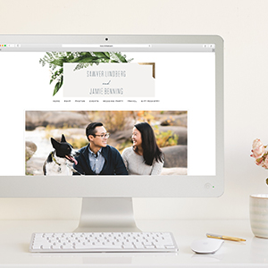 computer with wedding website