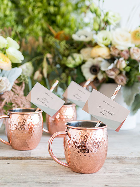 escort cards in moscow mule mugs