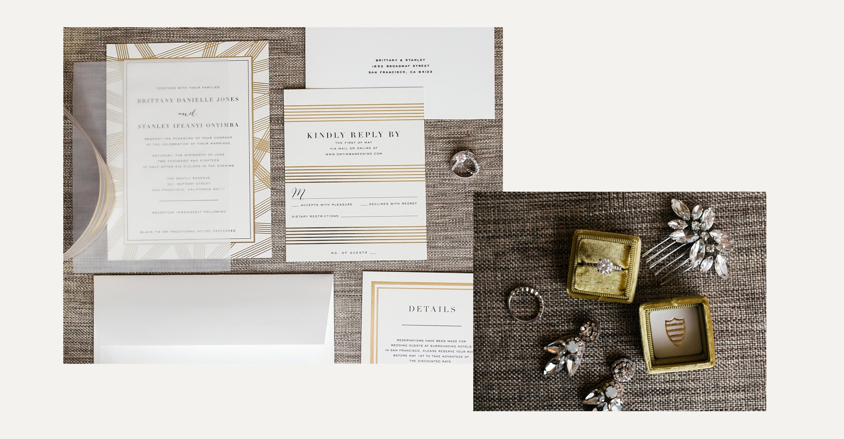 Minted Real Weddings: Brittany and Stanley wedding invitations
