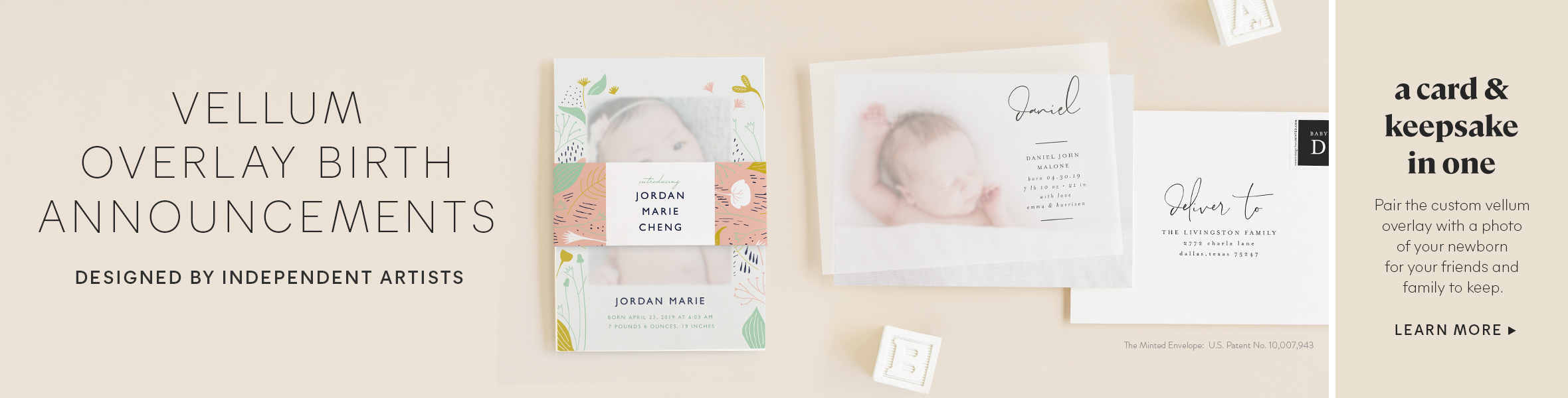 Vellum Birth Announcements