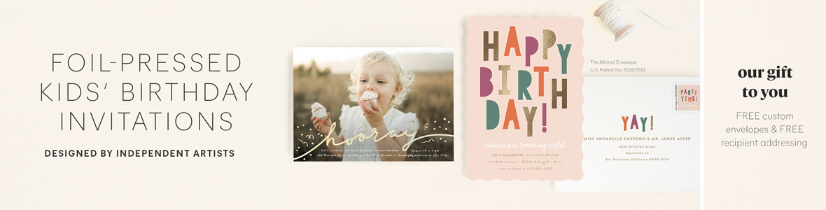 Foil-Pressed Kids Birthday Invitations