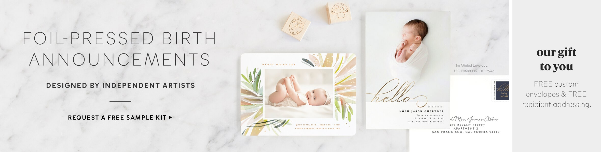 Foil Stamped Birth Announcements
