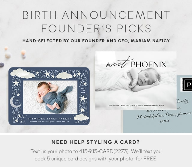 Birth Announcement Founder's Picks