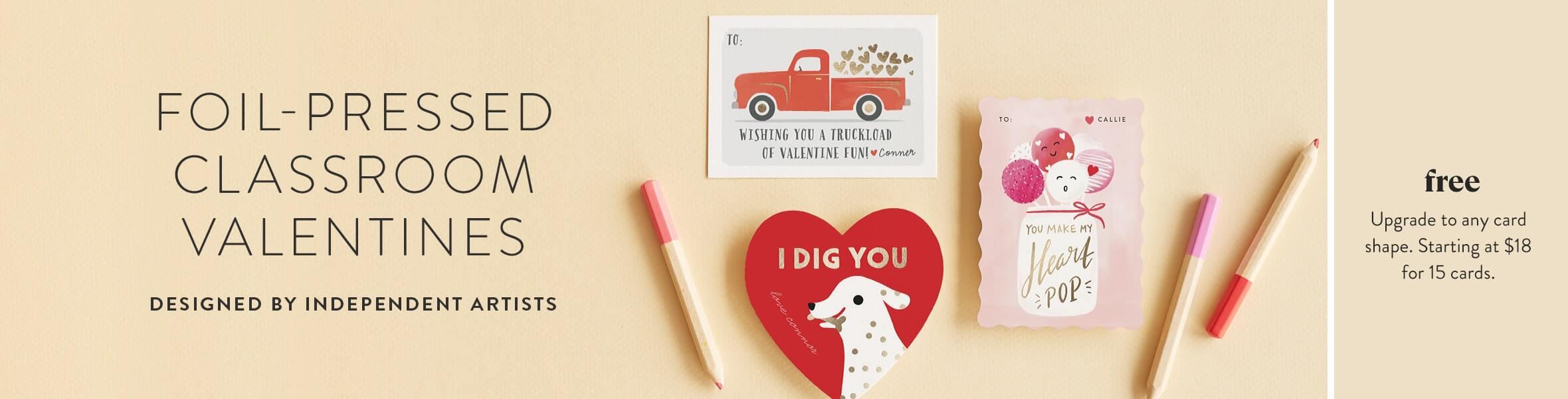 Foil-pressed Classroom Valentines