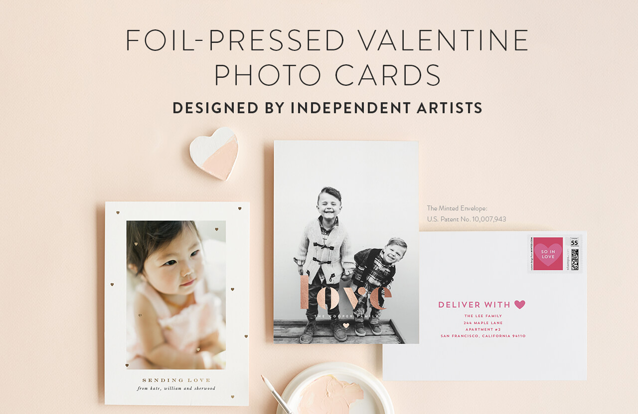 Foil-pressed Valentine Photo Cards