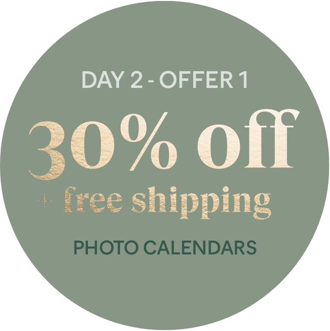 Day 2 - Offer 1: 30% off + free shipping - Photo Calendars