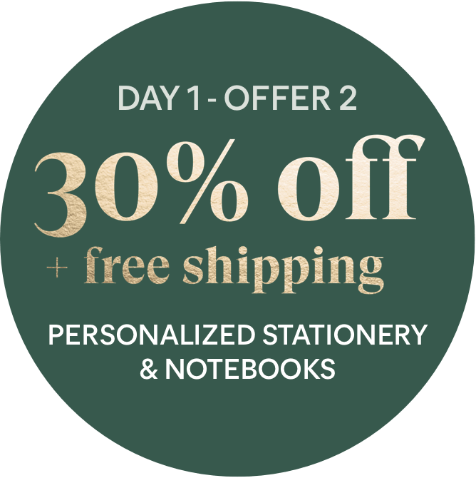 Day 1 - Offer 2: 30% off + free shipping - Personalized Stationery & Notebooks
