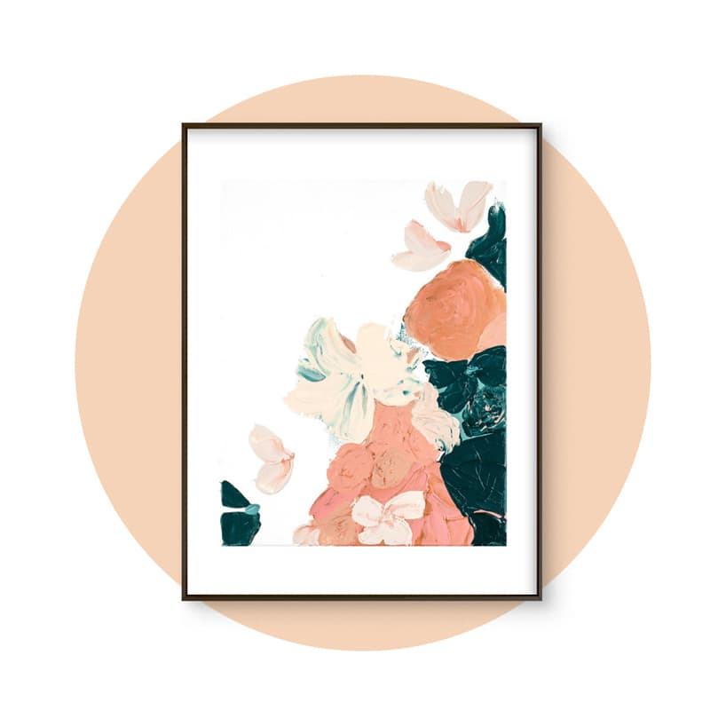 Peach Abstract Botanical Art Print