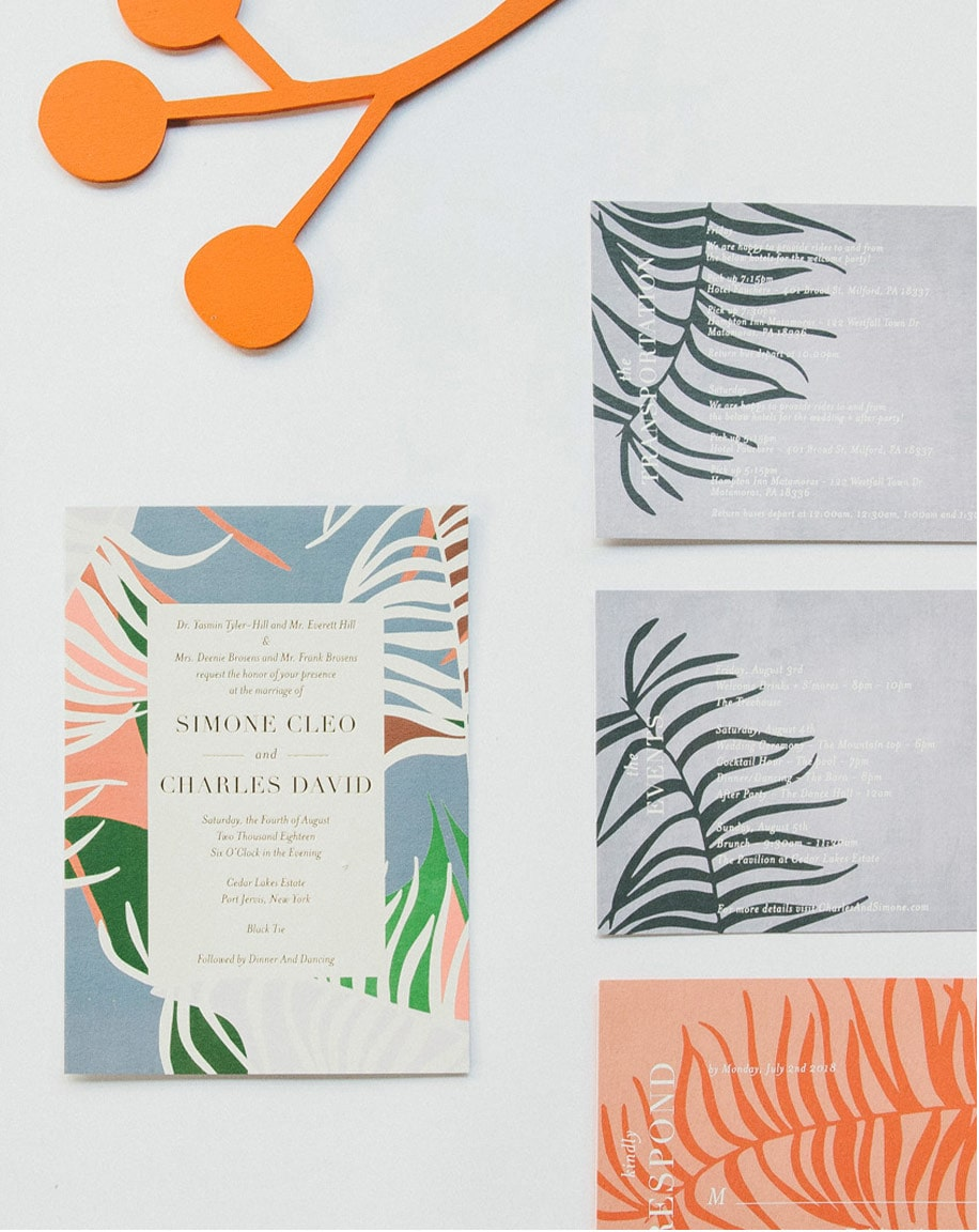 Acapulco wedding invitation design in custom colors