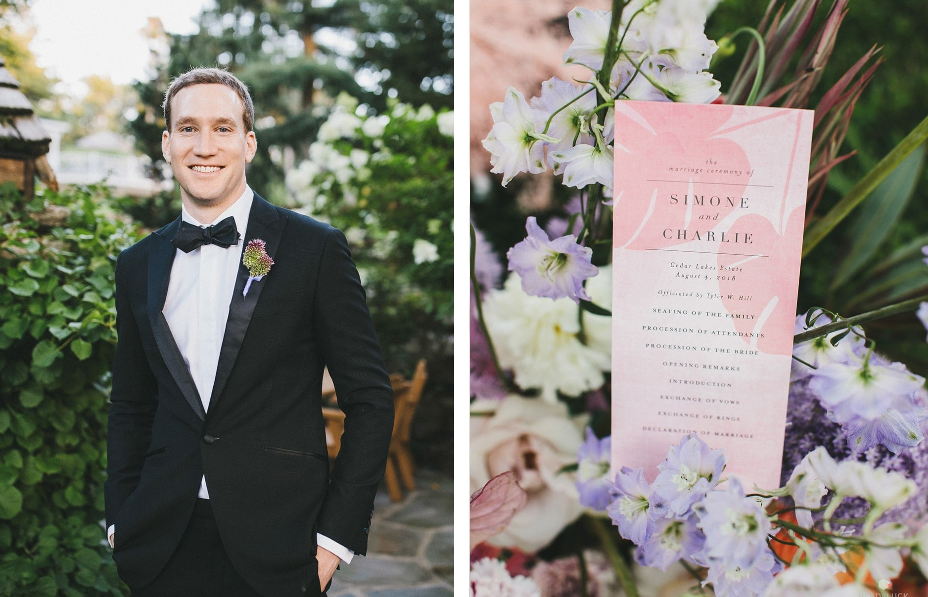 Photo of Groom, Ceremony Program in Custom Color