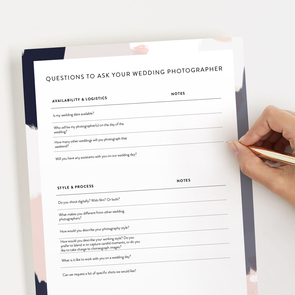 what to ask your wedding photographer checklist