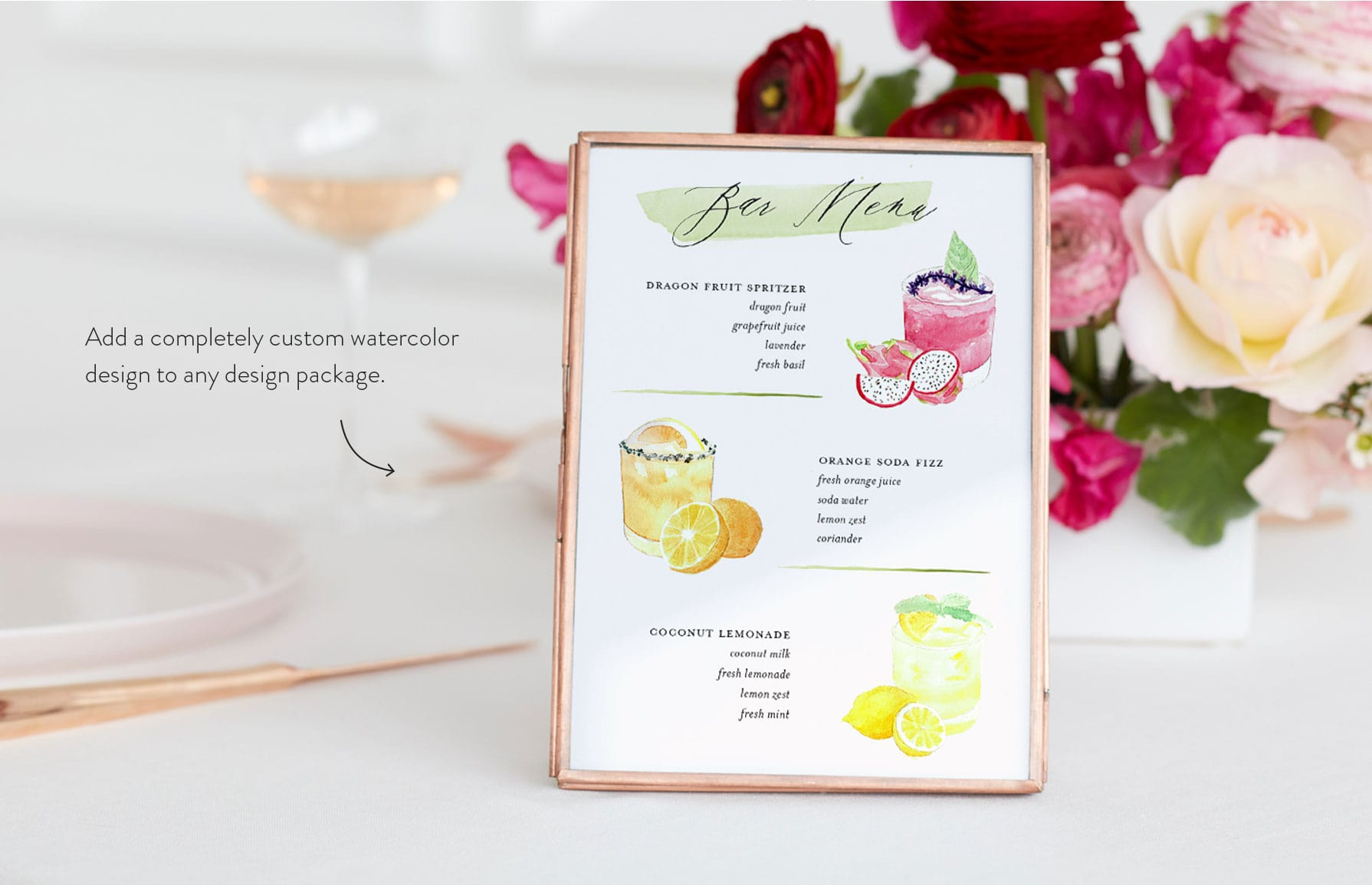 Add a completely custom watercolor design to any design package.