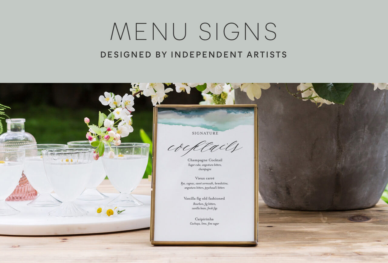Wedding Menu Signs