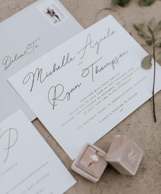 Wedding invitation in custom colors
