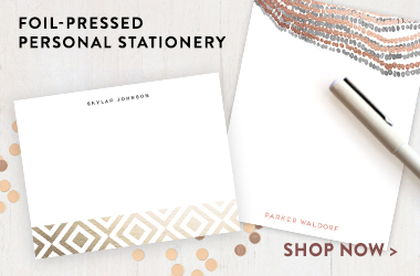 foil pressed personal stationary