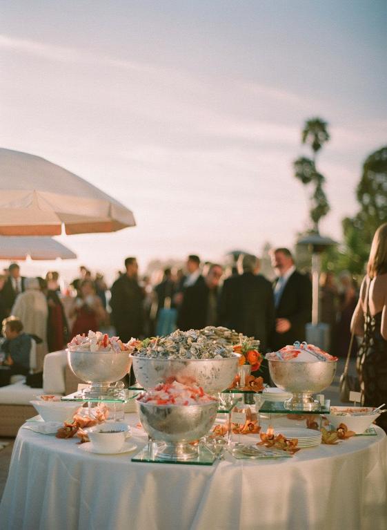 Beach wedding reception dinner