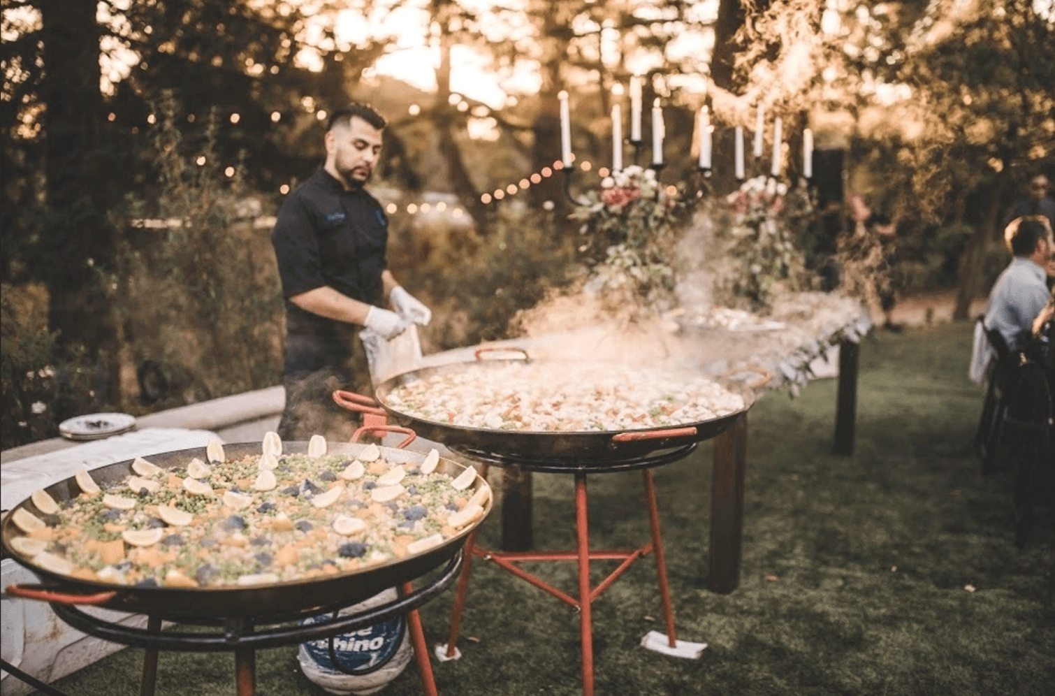 chef cooking paella