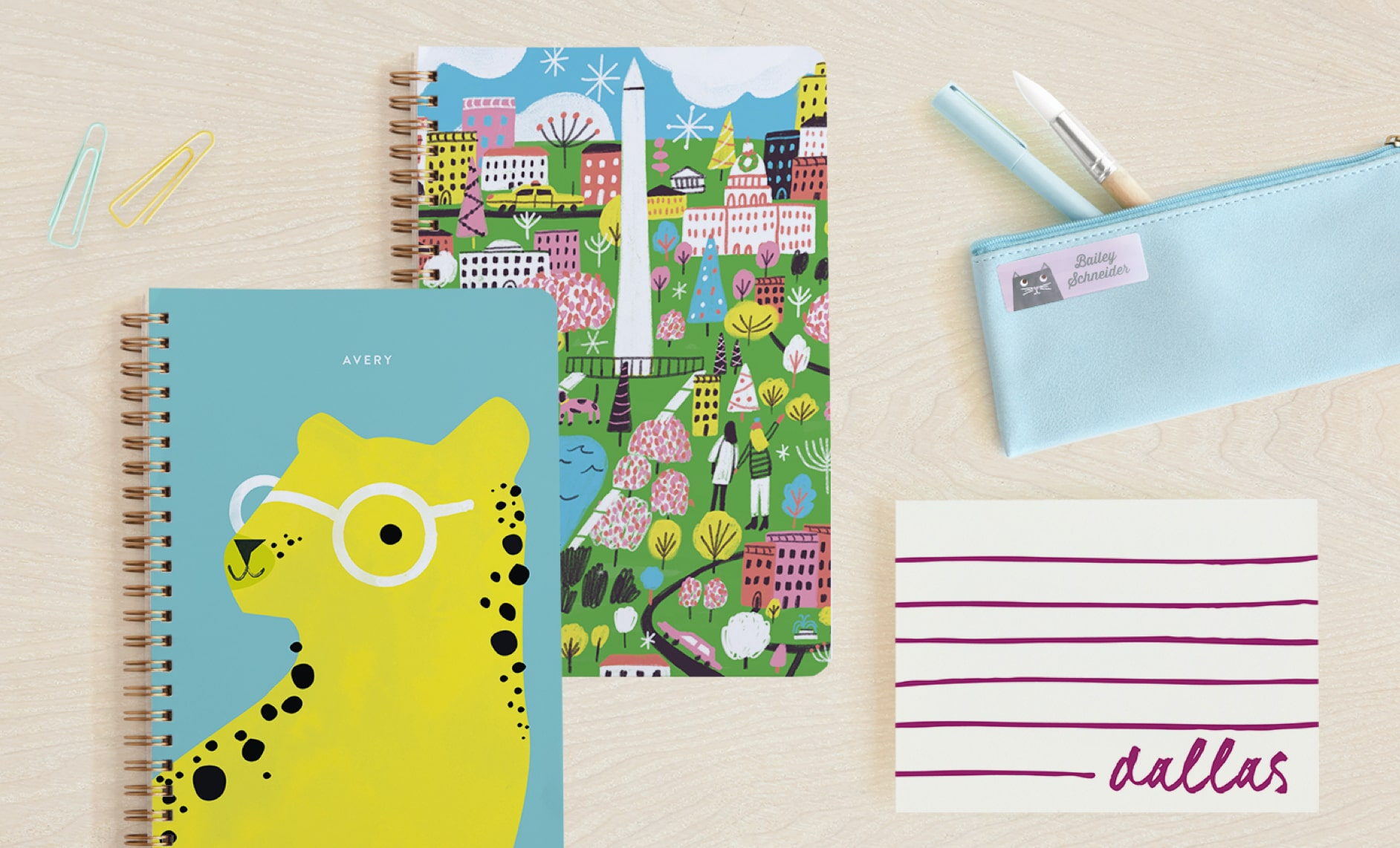 Notebooks, children's stationery, name labels