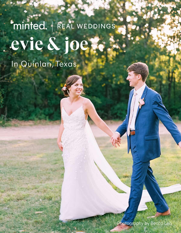 Minted Real Weddings: evie         & joe in quintlan, texas