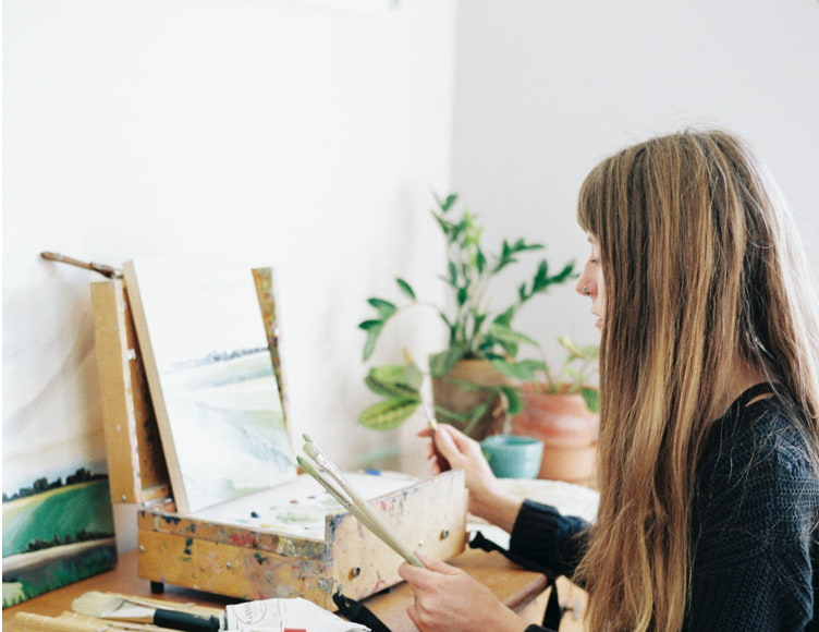 Minted artist Molly Mansfield in her studio.
