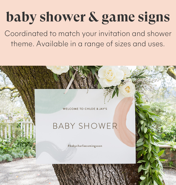 Baby shower and game signs