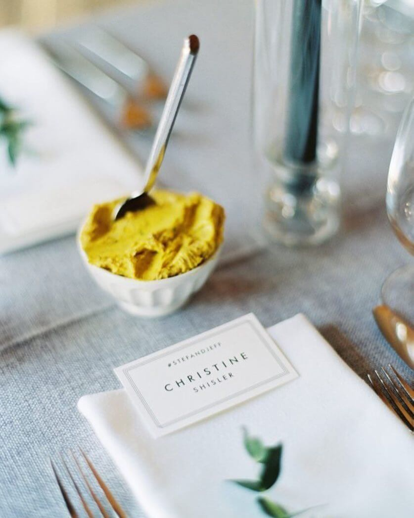 Place card with hashtag