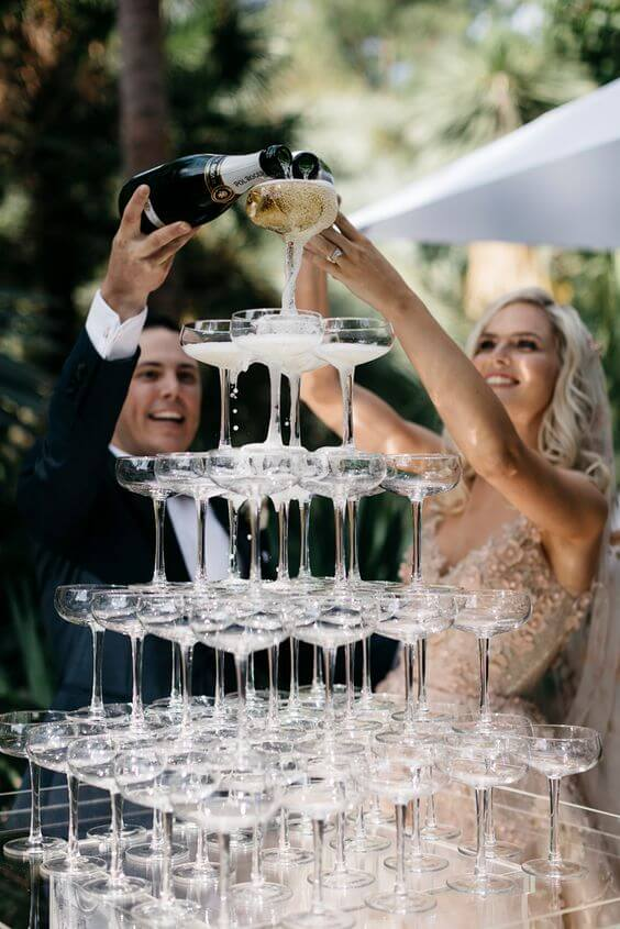champagne glasses stacked