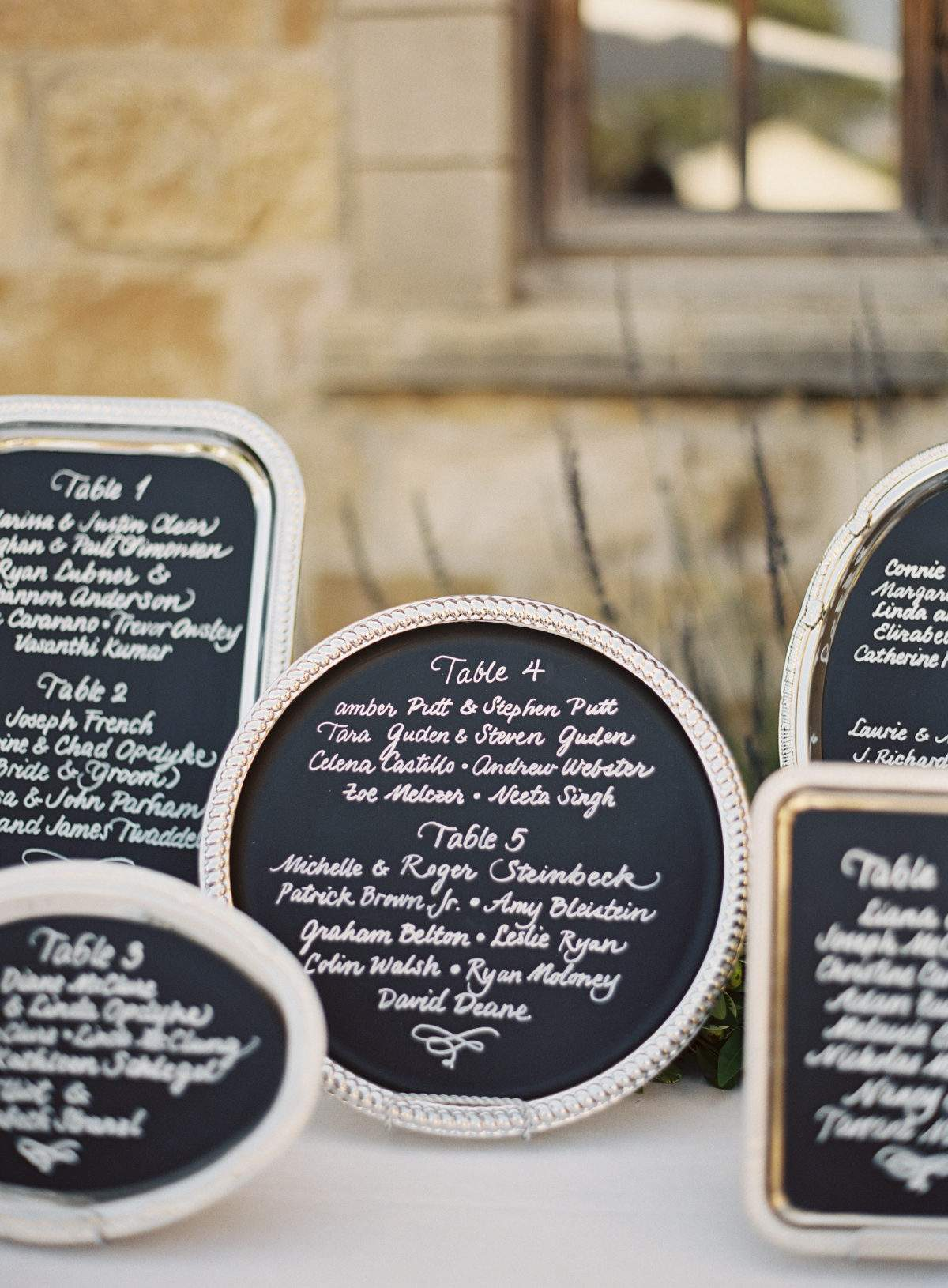 Serving Trays Seating Chart Display
