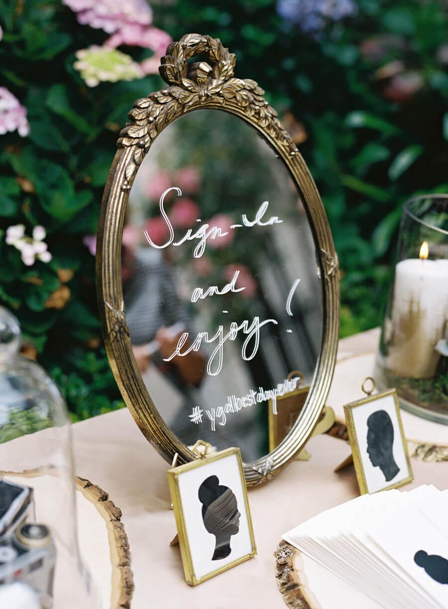 Mirror with wedding hashtag