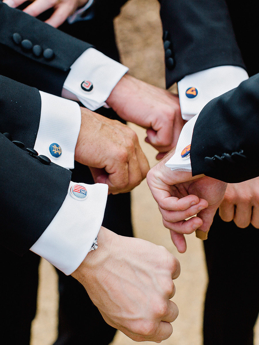 groomsmen with different cuff links