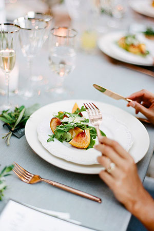 place setting with salad