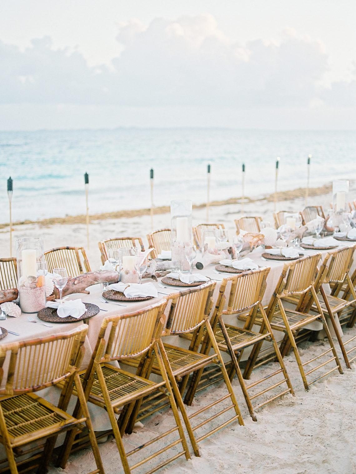 Wedding place setting on beach