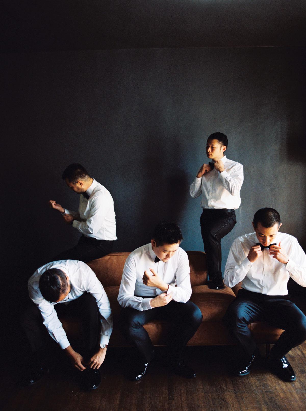 groomsmen wearing suits