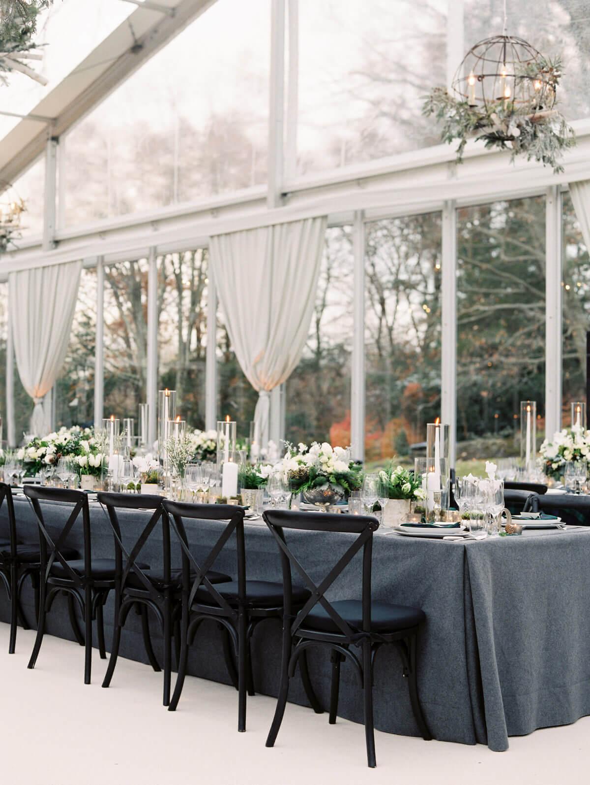 winter wedding reception dinner table