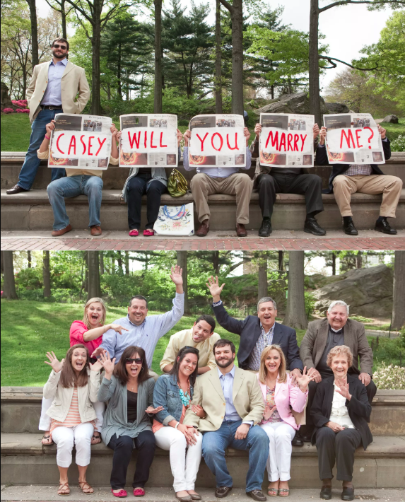 family and friends helping with wedding proposal