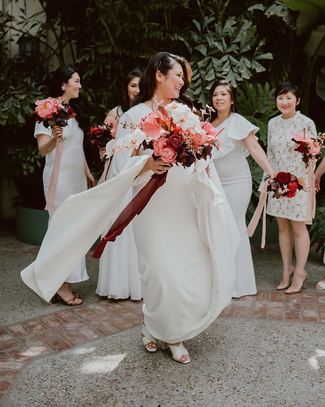 Bridesmaids in dresses