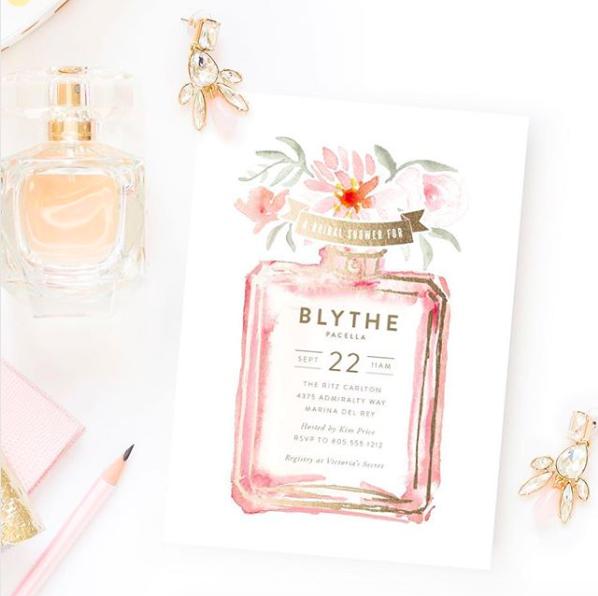 wedding invitation with perfume bottle
