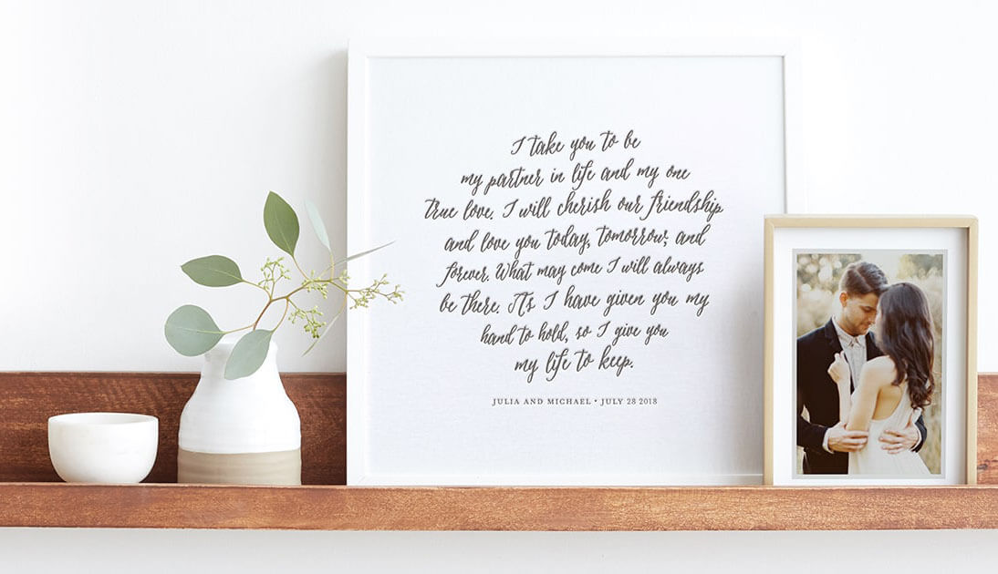 framed vows