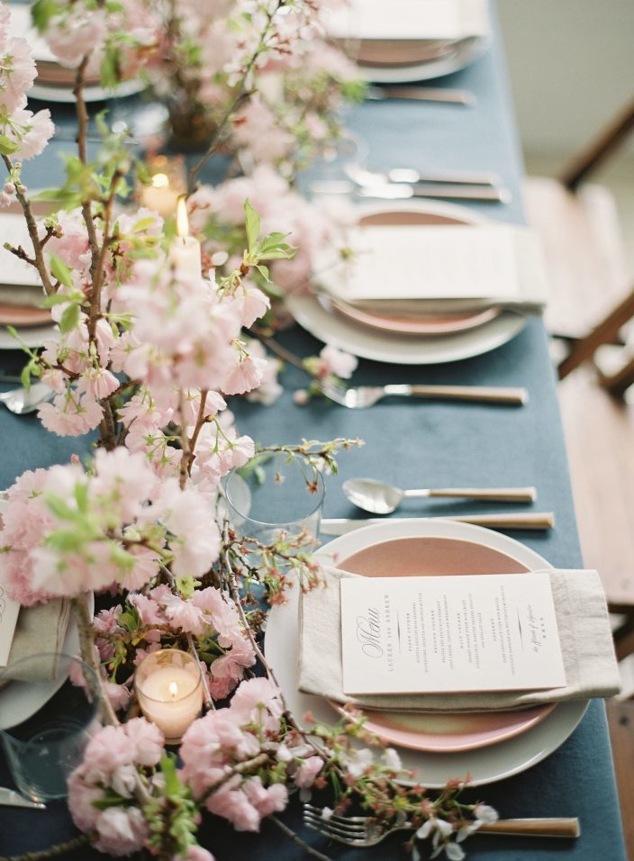 wedding place settings with spring flowers