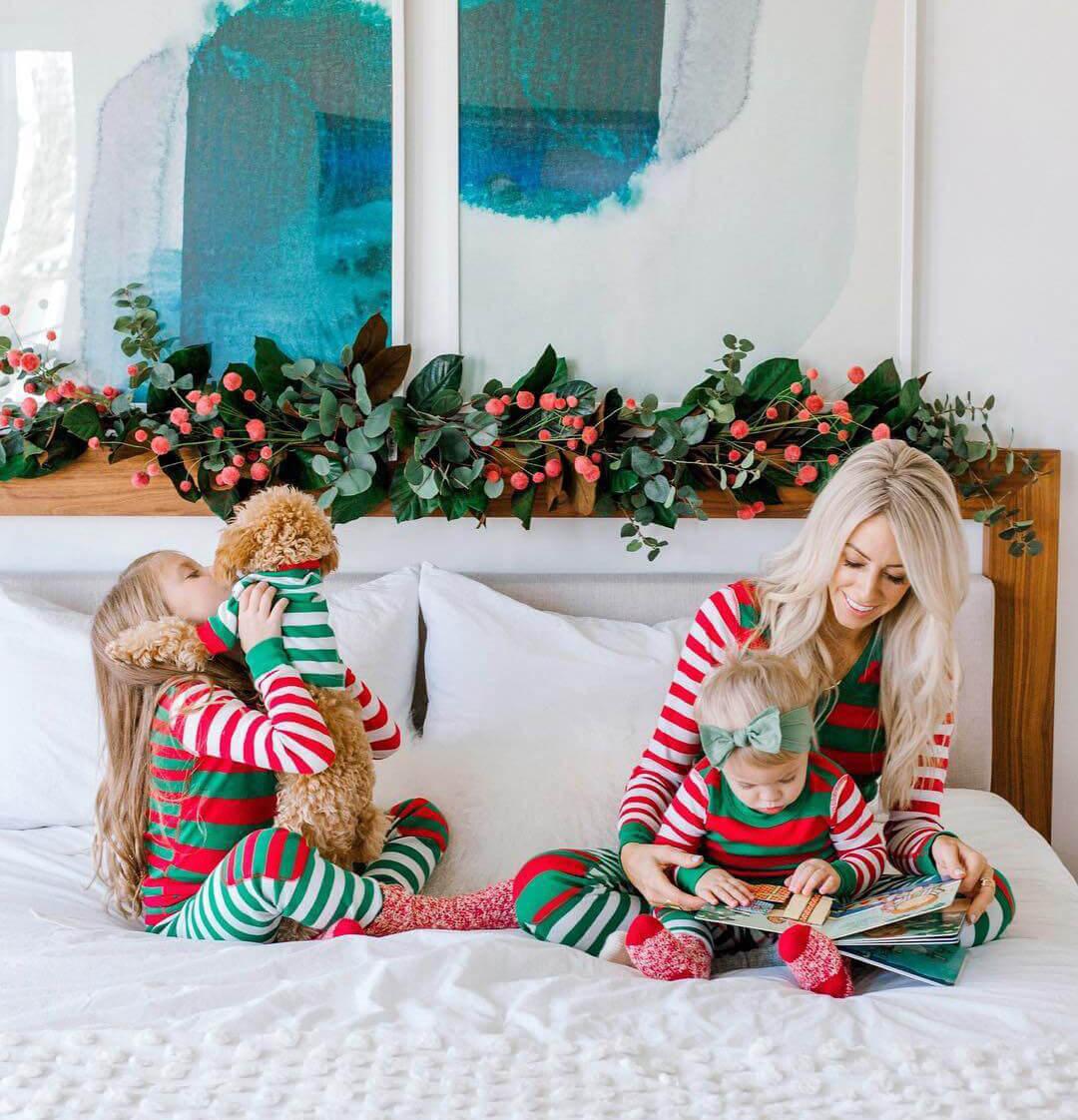 Family wearing holiday pajamas
