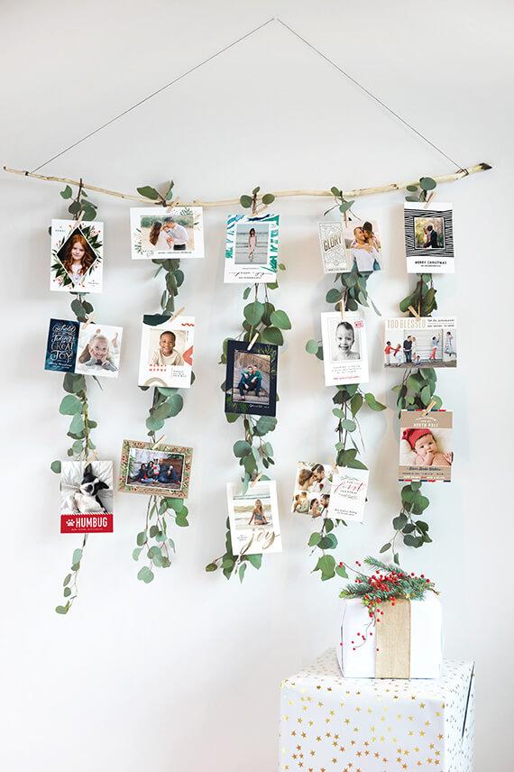 Photo display with greenery