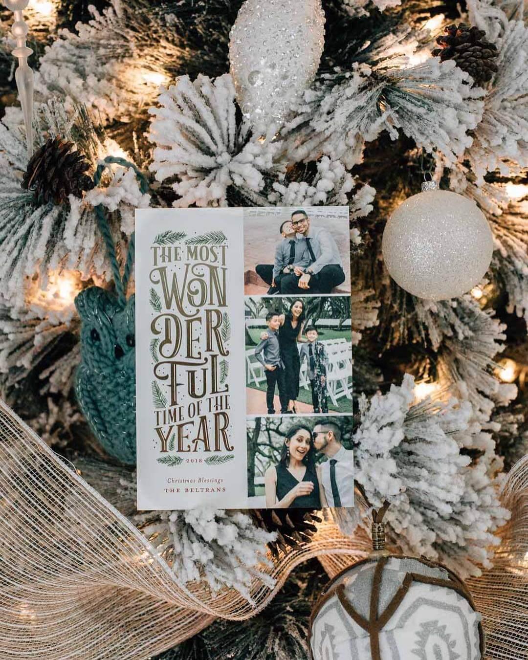 Glittery card on white tree