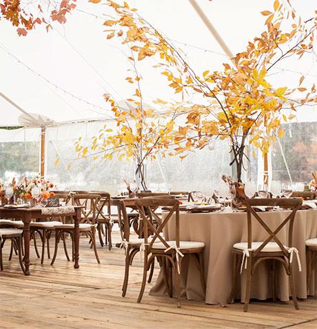 Fall wedding leaves wedding decor