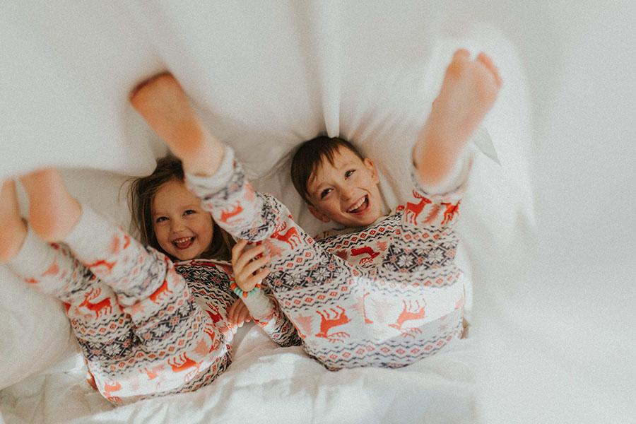 Kids wearing pajamas
